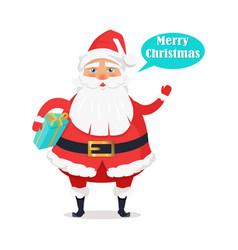 Plump santa with gift box says merry christmas vector
