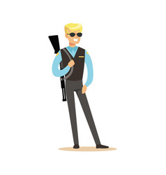 Police agent with rifle character vector