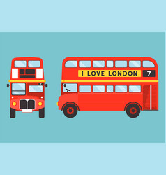 Red double-decker bus icon front and side view vector
