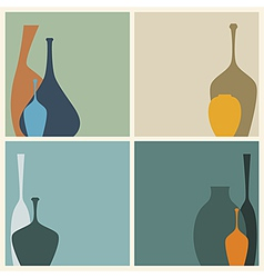 Retro of abstract vases decorated vector