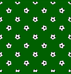 Seamless pattern with soccer balls on green vector