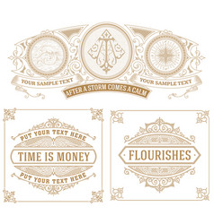 set of 3 vintage cards vector image vector image