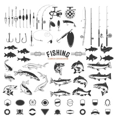 Set of fishing labels design elements rods and vector