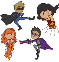 set of super heroes vector image