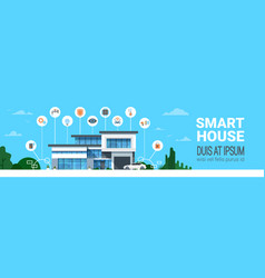 Smart house control system interface infographics vector