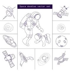 Space doodle elements line set vector