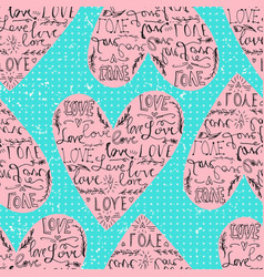 valentines seamless pattern with heart and love vector image vector image
