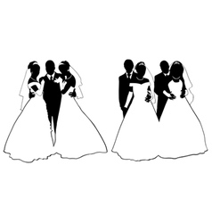 wedding couple silhouette vector image vector image