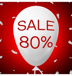 White baloon with text sale 80 percent discounts vector
