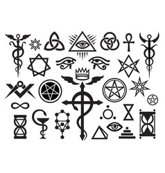 X medieval occult signs and magic stamps vector