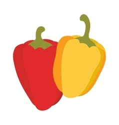 Yellow and red pepper vegetable food flat vector image