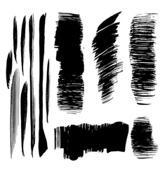 Abstract black brush strokes vector image