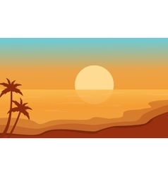 Beach at sunrise scenery silhouettes vector