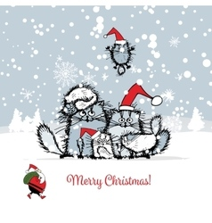 Christmas card with happy cats family vector