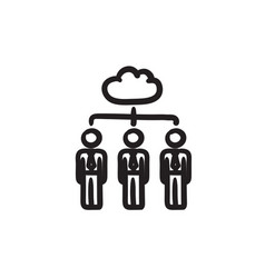 Cloud computing sketch icon vector