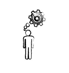 Sketch of man thought in a pinion vector