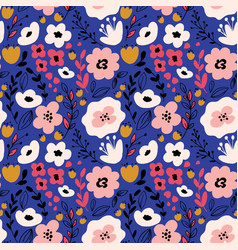 Fantasy flowers seamless pattern vector