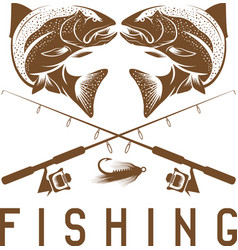 Vintage fishing design template with trout vector