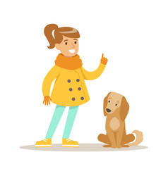Cute smiling girl walking with her dog outdoor vector