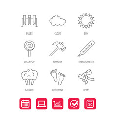 Footprint lab bulbs and thermometer icons vector