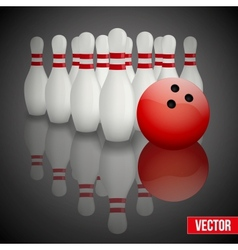 Bowling pins and ball with reflection vector