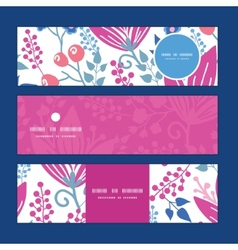 Pink flowers horizontal banners set pattern vector