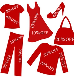 Red clothing with sale percent discount vector