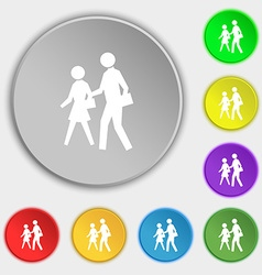 Crosswalk icon sign symbol on five flat buttons vector