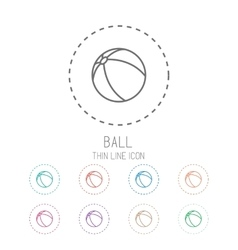 Ball clean thin line style sport icon set vector