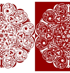 Red and white ornamental floral round lace vector