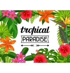 Tropical paradise card with stylized leaves and vector