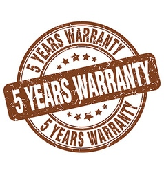 5 years warranty brown grunge round vintage rubber vector