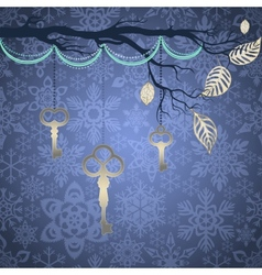 Blue vintage background with silver leaves and key vector image
