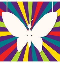 Abstract design with paper butterfly vector