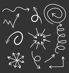 Arrows icon set hand drawn on black background vector