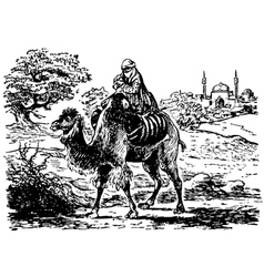 Bedouin with child vector