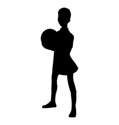 Boy with ball silhouette vector