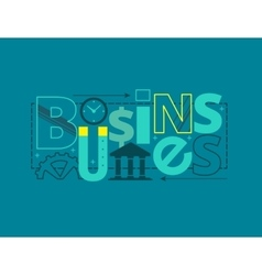 Business word collage design font composition vector
