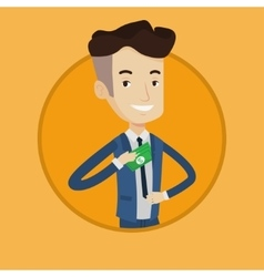 Businessman putting money in pocket vector