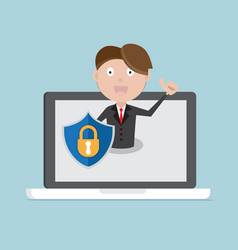 businessman with shield on laptop vector image