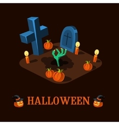 Cartoon zombie hand at cemetery halloween vector