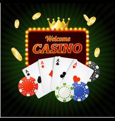 casino sign banner light bulbs vintage neon frame vector image vector image