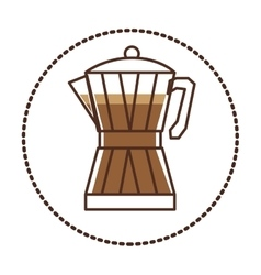 Circular sticker glass jar of coffee with handle vector