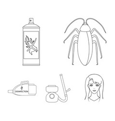 Cockroach and equipment for disinfection outline vector