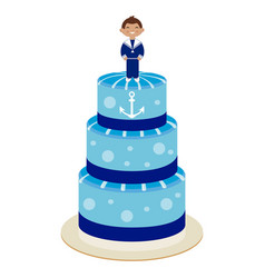 Communion cake for boy vector