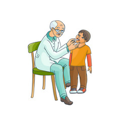 flat adult male doctor and boy kid scene vector image