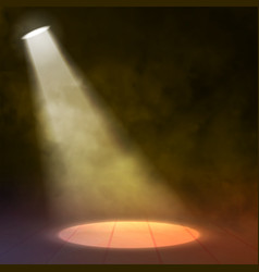 Floodlight Spotlight illuminates wooden scene with vector image vector image
