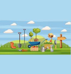 Gardener tools icons set cartoon style vector