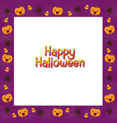 Halloween border decorate with pumpkin and spider vector