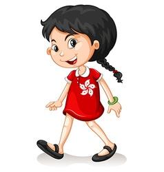 Hongkong girl walking alone vector